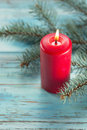 Christmas decorations candle with evergreen Royalty Free Stock Photos