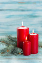 Christmas decorations candle with evergreen Royalty Free Stock Images