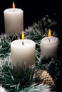 Christmas decorations with candles Stock Images