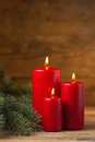 Christmas decorations candles with evergreen Royalty Free Stock Photography