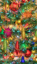 Christmas decorations on the Christmas tree Royalty Free Stock Image