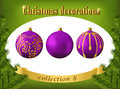 Christmas decorations. Collection of violet glass balls
