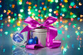 Christmas decorations composition with fancy box Royalty Free Stock Photos