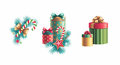 Christmas decorations design set tree decoration and gift boxes elements isolated on white background Stock Photo