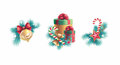 Christmas decorations design set tree decoration and gift boxes elements isolated on white background Royalty Free Stock Photo
