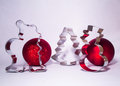 Christmas decorations figures and red balls on white background Royalty Free Stock Photos