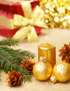 Christmas decorations with gift box Stock Photo
