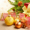 Christmas decorations with gift box Stock Image