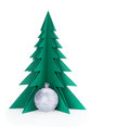 Christmas decorations and green paper tree on a white background clipping patch Royalty Free Stock Photography
