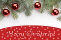 Christmas decorations with the greeting `Merry Christmas!`