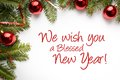 Christmas decorations with the greeting `We wish you a blessed new year!`