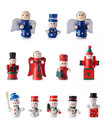 Christmas decorations group of small retro styled figurines tree isolated on white background Stock Image