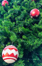 Christmas decorations hanging on tree Royalty Free Stock Photos
