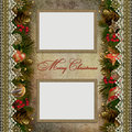 Christmas decorations with lace and frames on vint vintage background a place for text or photo Royalty Free Stock Photography