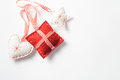 Christmas decorations made of felt a heart a cusion and a star on a white background space for text Royalty Free Stock Photography