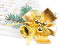 Christmas decorations and music sheet on white background Royalty Free Stock Photo