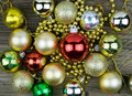 Christmas decorations on old wooden background. Royalty Free Stock Photo