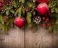 Christmas Decorations over Wood Royalty Free Stock Photography