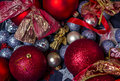Christmas decorations photography of red and silver balls close up image with background Royalty Free Stock Photography