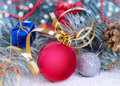 Christmas decorations. Red bauble closeup. Royalty Free Stock Photo