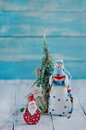 Christmas decorations santa claus and snowman Stock Photo