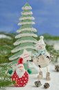Christmas decorations santa claus and snowman Stock Photography