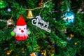 Christmas decorations,Santa Claus on the Christmas tree Royalty Free Stock Photo