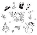 Christmas decorations set. Vector icons. Design elements collection. Cartoon objects. Snowmen,deer, pine tree,holly berry, gifts.