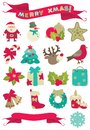 Christmas decorations set of vector icons of many and banners with merry isolated on white background Stock Photo