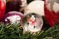 Christmas decorations. Shiny magical crystal ball with snowman and Christmas balls on tree twig. Snowing dome with xmas background Royalty Free Stock Photo