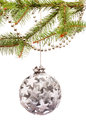 Christmas decorations silver isolated on white Royalty Free Stock Photography