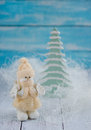 Christmas decorations with snowman and fir tree Stock Photo