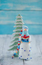 Christmas decorations with snowman toy Royalty Free Stock Photos
