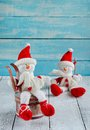 Christmas decorations with snowman toys Royalty Free Stock Photos