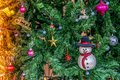 Christmas decorations,Snowman on the Christmas tree Royalty Free Stock Photo