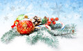 Christmas decorations and sweets on winter background Stock Image