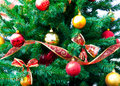 Christmas decorations and tree Stock Photo
