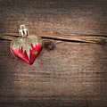 Christmas decorations on vintage wooden background new year toy Royalty Free Stock Photos