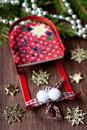 Christmas decorations on a wooden background Royalty Free Stock Photography