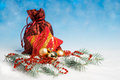 Christmas decorations and wrapped gifts red presents on abstract background Stock Photo
