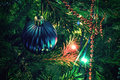 Christmas decorations on xmas tree beautiful ball Stock Images