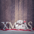 Christmas decorations - xmas tree letters and bear Royalty Free Stock Photo