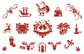 Christmas decorative elements set of simple icons and Royalty Free Stock Images