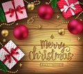 Christmas Decorative Greeting Poster in Brown Wooden Background