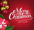 Christmas Decorative Greeting Poster in Red Vignette Background with Christmas Balls