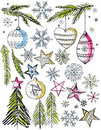 Christmas decorative hand draw elemants,   Royalty Free Stock Image