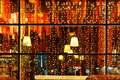 Christmas decorative lights of restaurant window Royalty Free Stock Photo