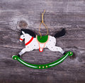 Christmas decorative ornament - Horse ornament on wooden backgro Royalty Free Stock Photo