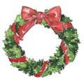 Christmas decorative pine tree wreath with red bow.
