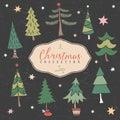 Christmas decorative winter tree. Hand drawn illustration. Royalty Free Stock Photo